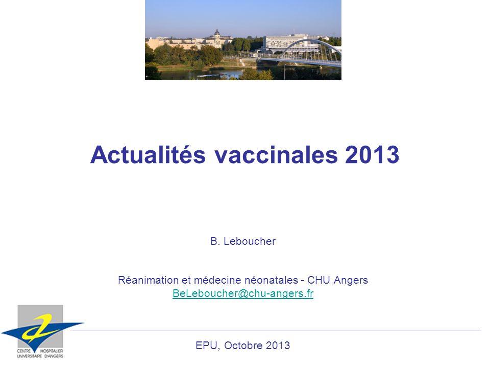 Actualités vaccinales 2013