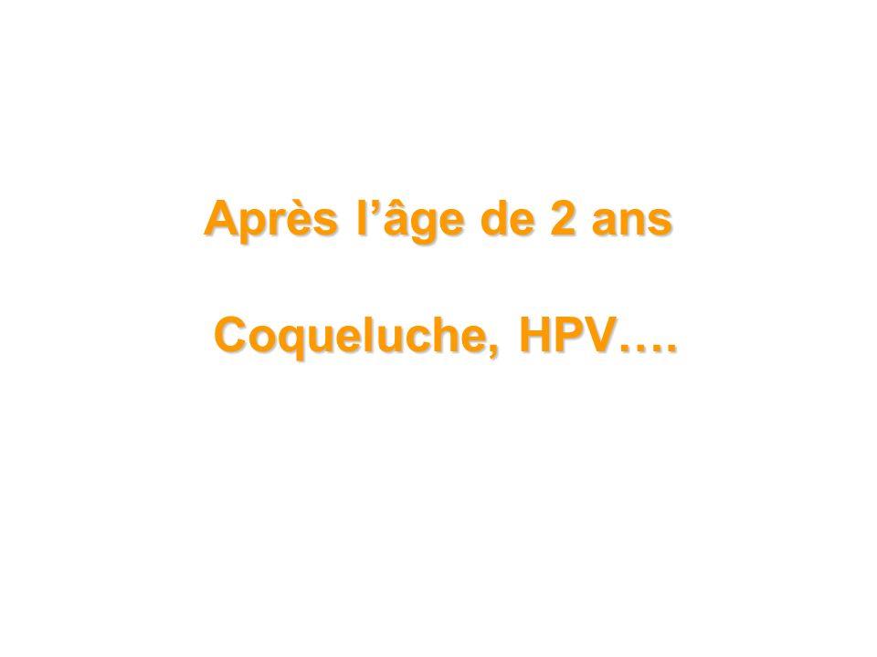 Après l'âge de 2 ans Coqueluche, HPV….