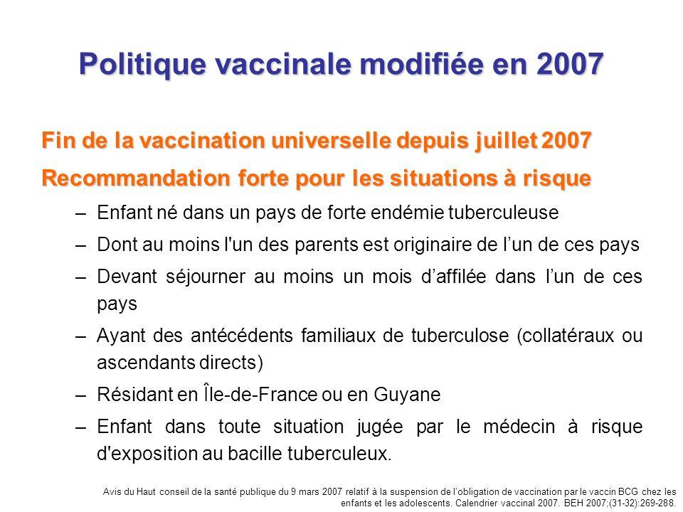 Politique vaccinale modifiée en 2007