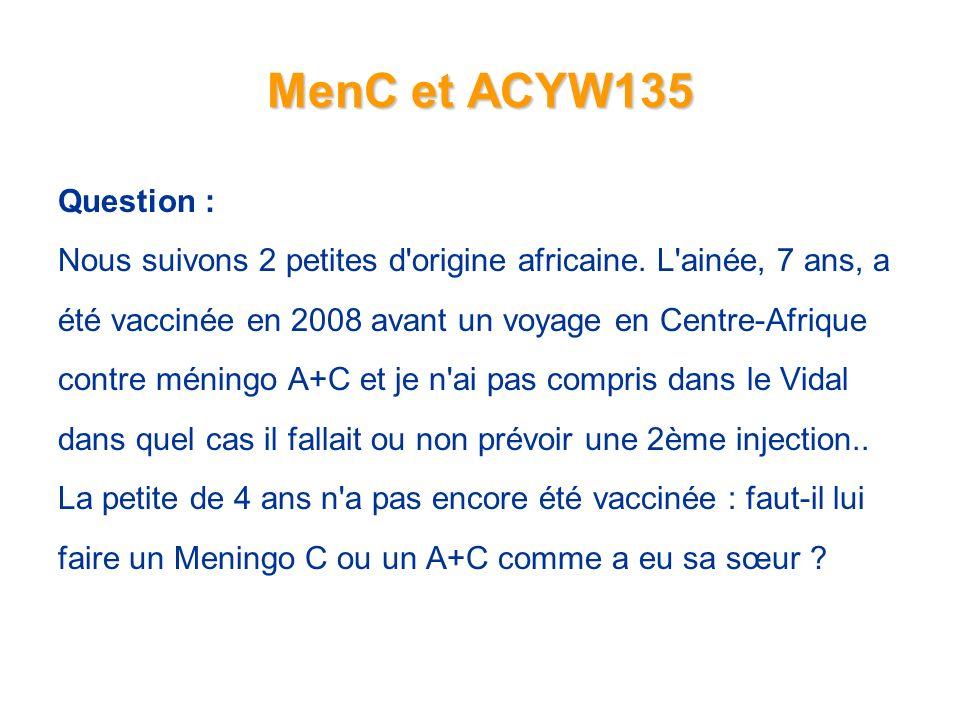 MenC et ACYW135 Question : Nous suivons 2 petites d origine africaine. L ainée, 7 ans, a. été vaccinée en 2008 avant un voyage en Centre-Afrique.