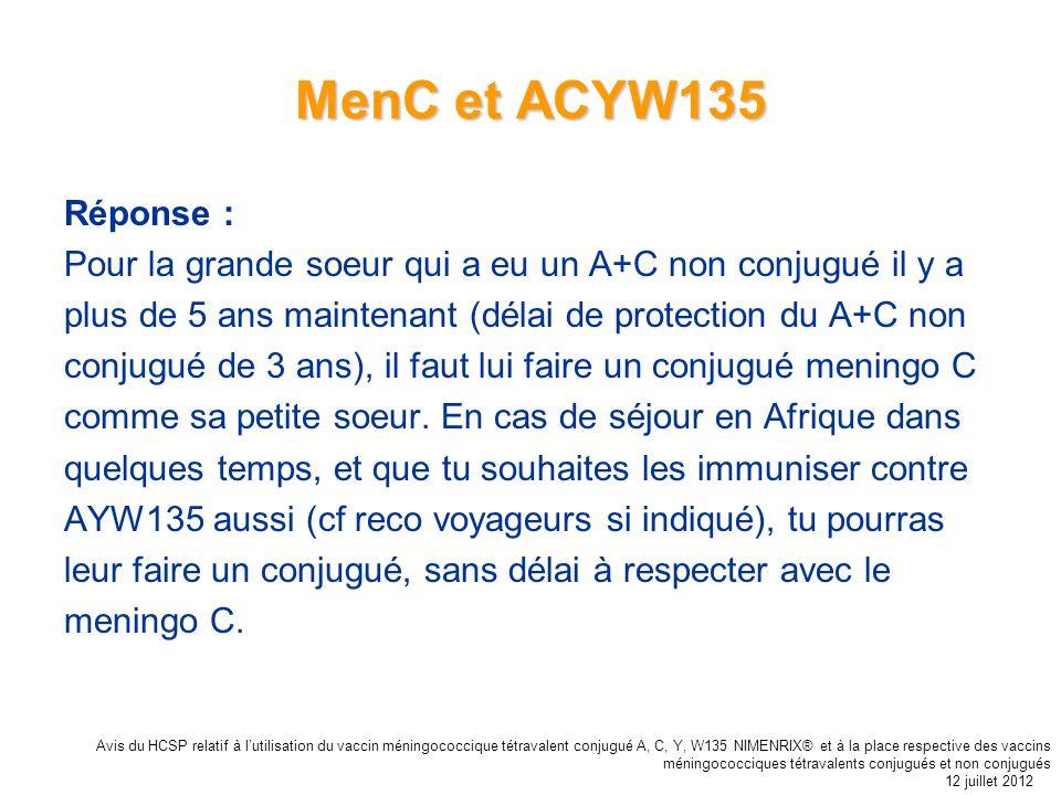 MenC et ACYW135 Réponse : Pour la grande soeur qui a eu un A+C non conjugué il y a. plus de 5 ans maintenant (délai de protection du A+C non.