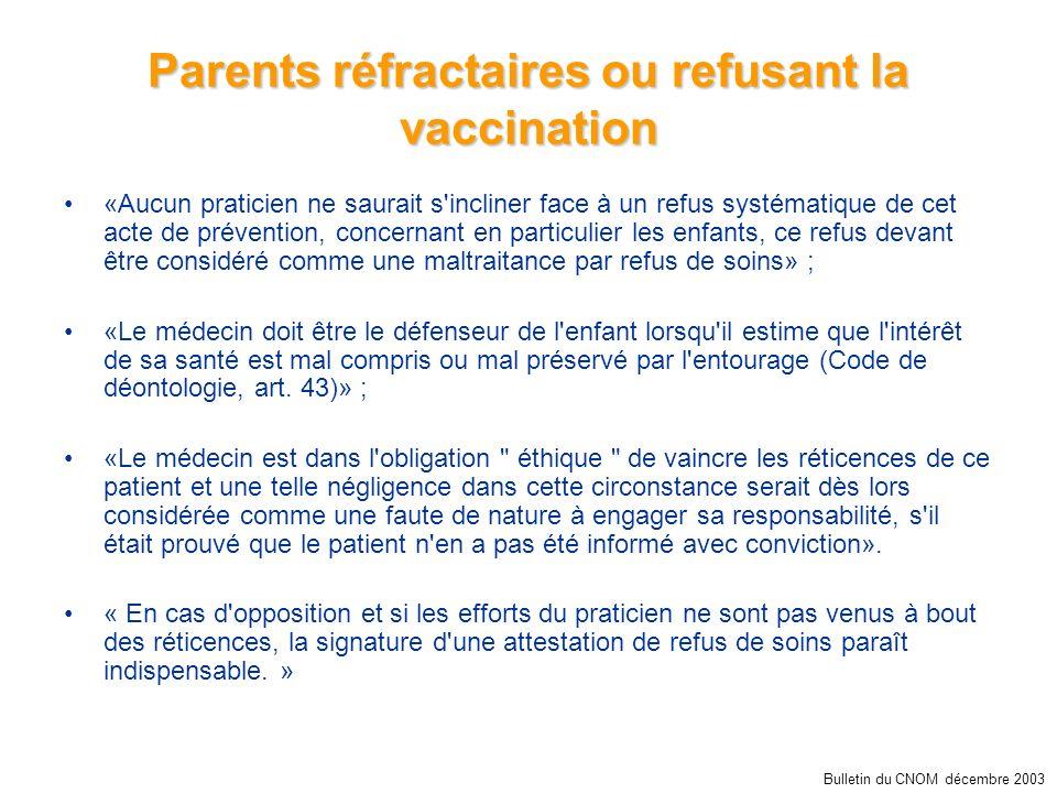 Parents réfractaires ou refusant la vaccination