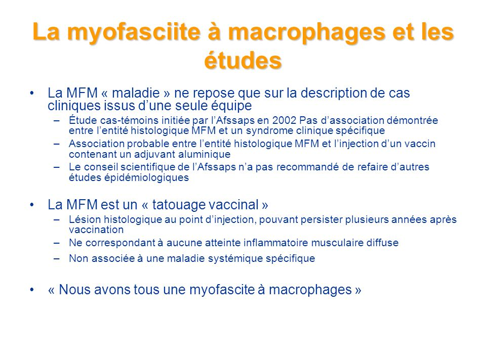 La myofasciite à macrophages et les études