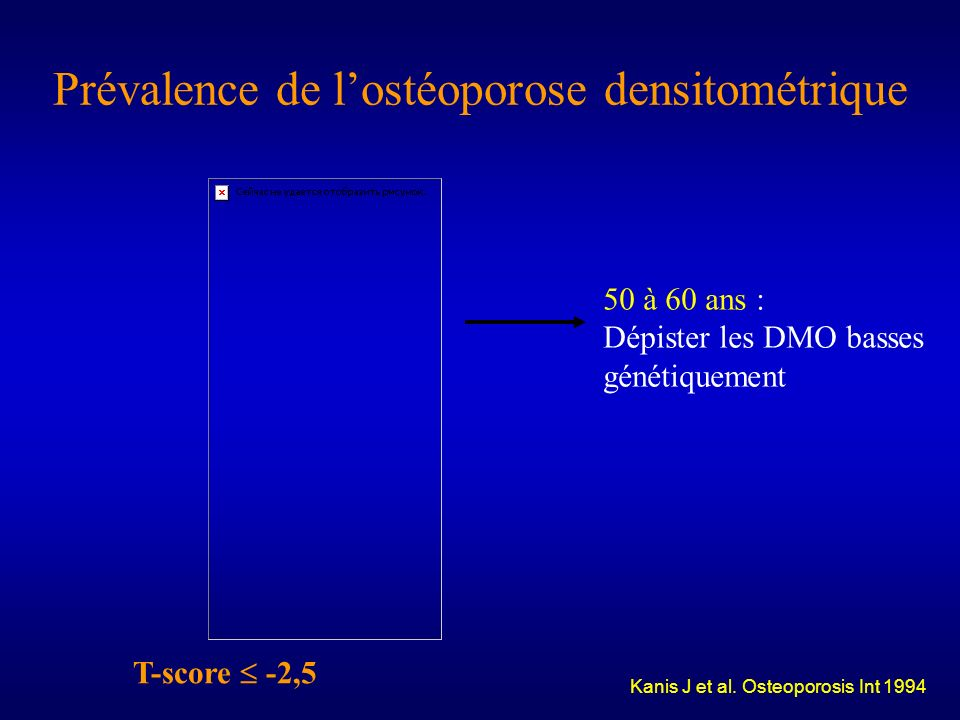 Prévalence de l'ostéoporose densitométrique