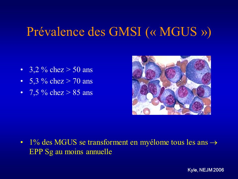 Prévalence des GMSI (« MGUS »)