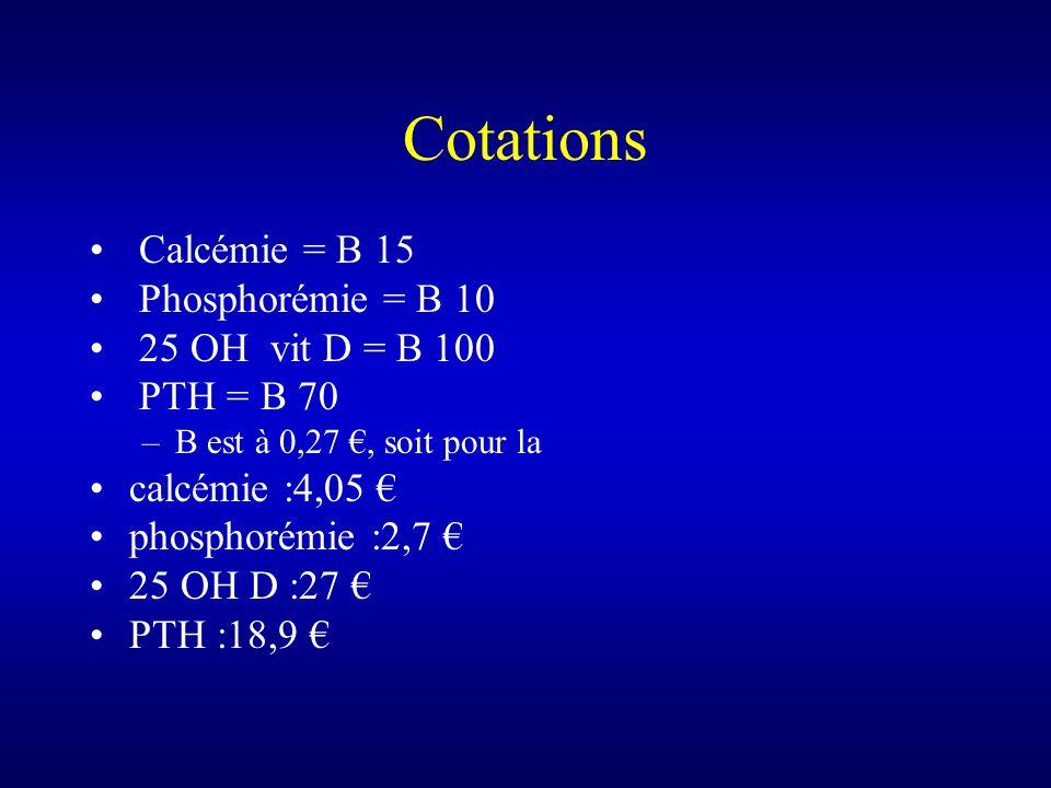 Cotations Calcémie = B 15 Phosphorémie = B 10 25 OH vit D = B 100