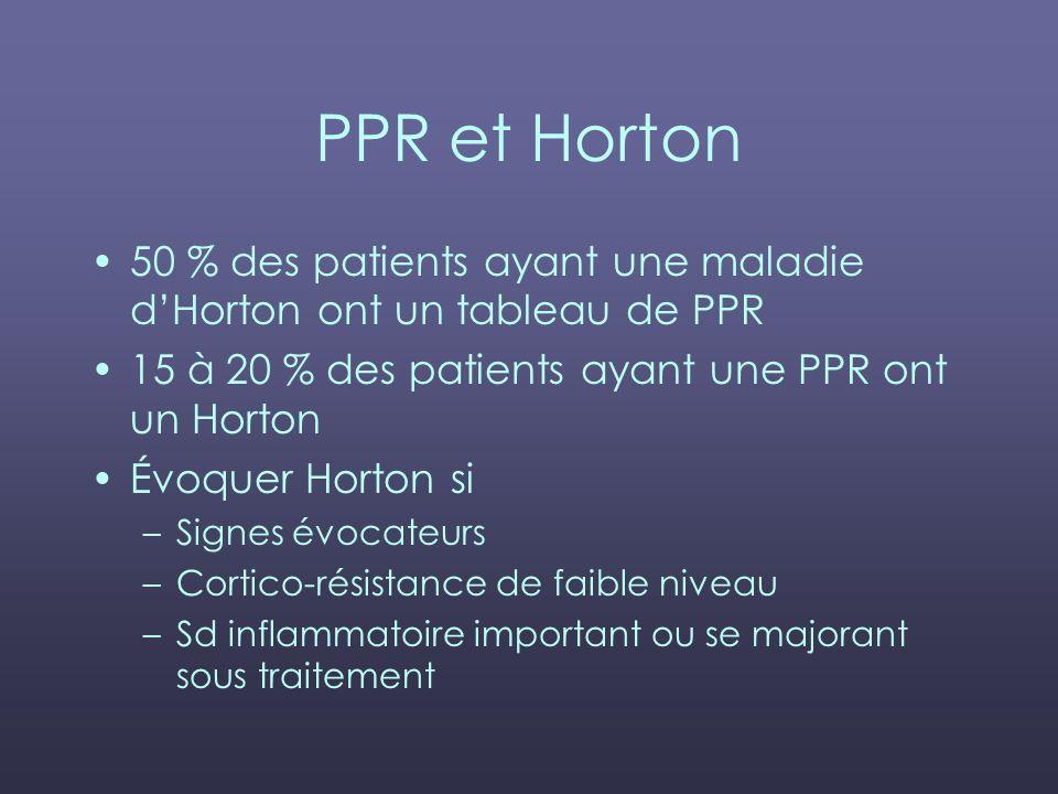 PPR et Horton 50 % des patients ayant une maladie d'Horton ont un tableau de PPR. 15 à 20 % des patients ayant une PPR ont un Horton.