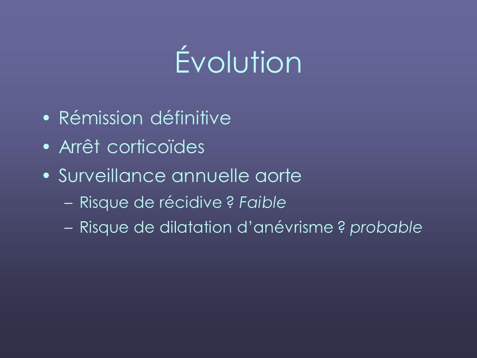 Évolution Rémission définitive Arrêt corticoïdes