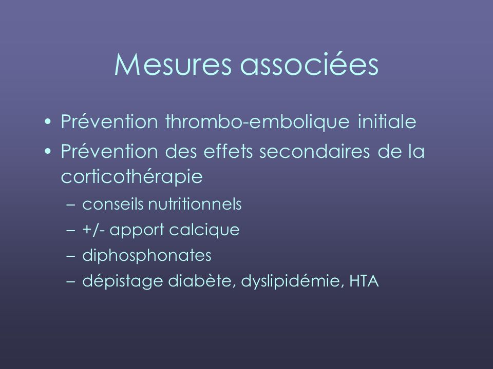 Mesures associées Prévention thrombo-embolique initiale