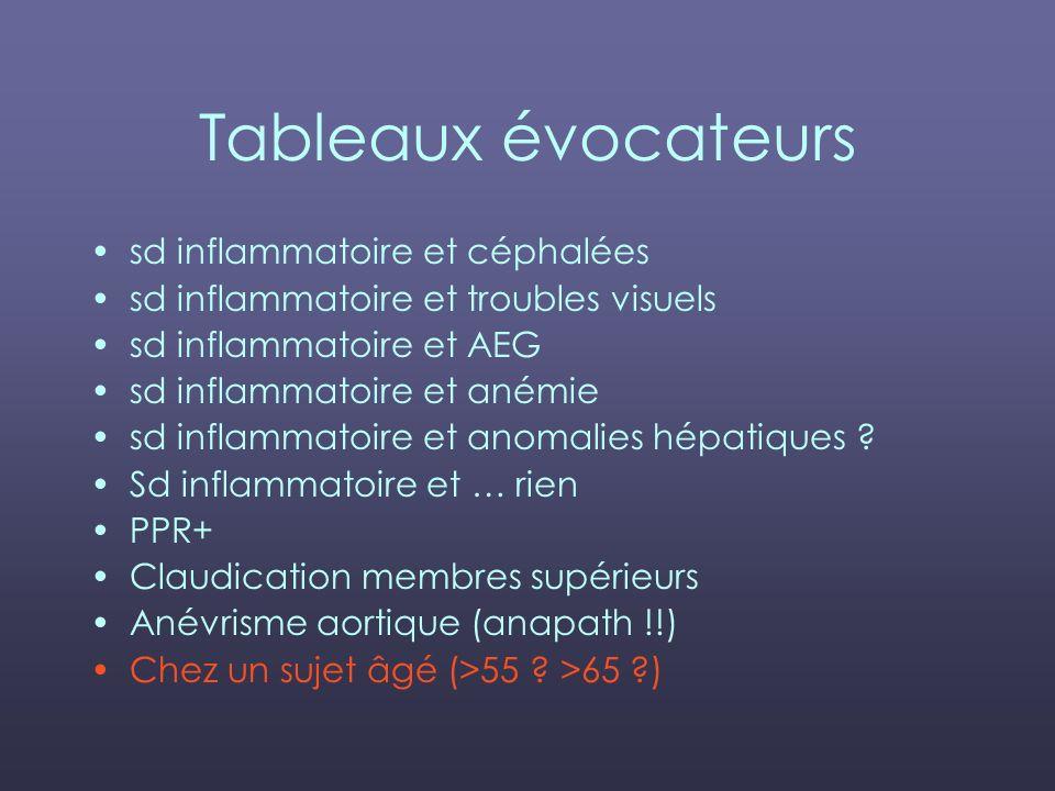 Tableaux évocateurs sd inflammatoire et céphalées