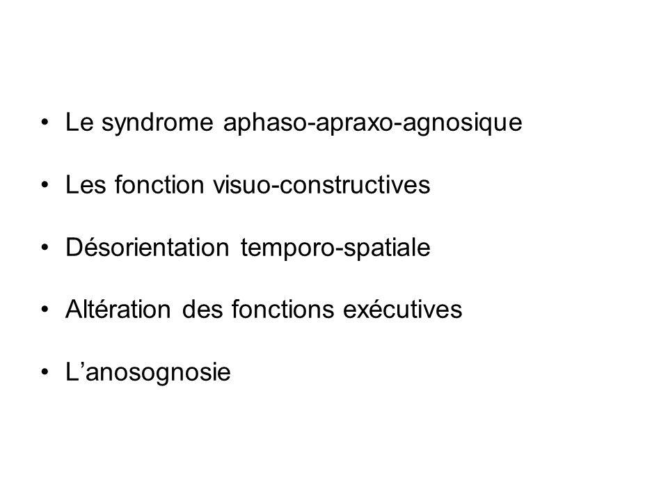 Le syndrome aphaso-apraxo-agnosique