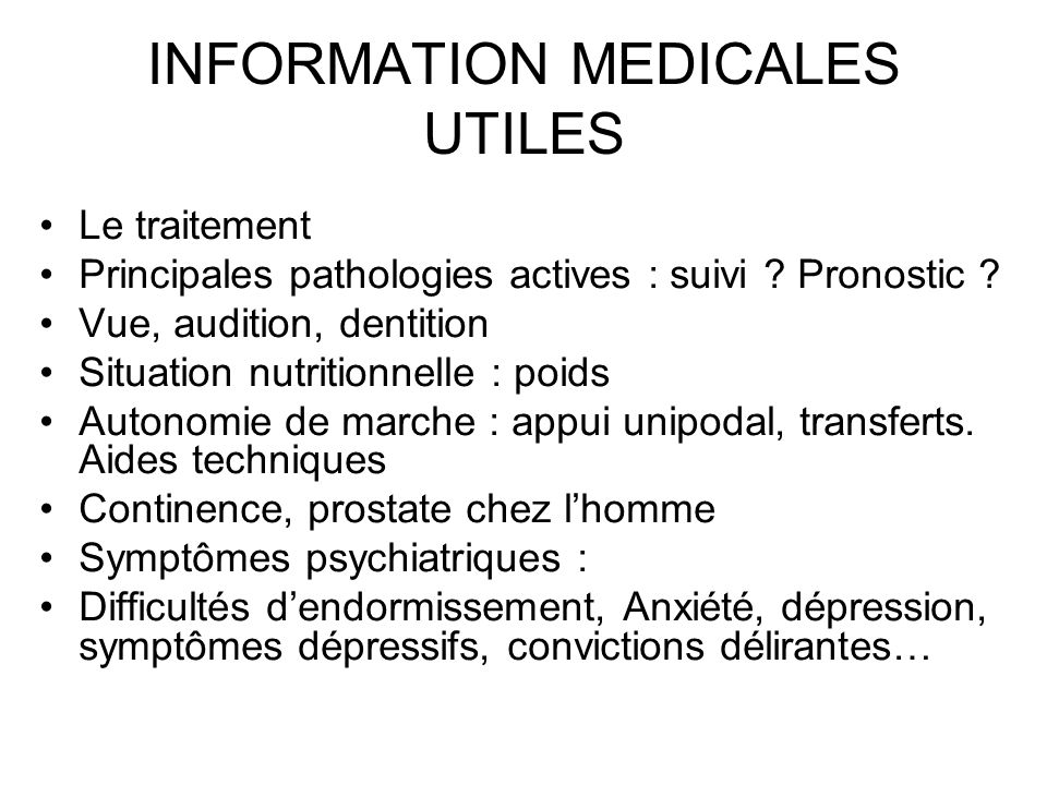 INFORMATION MEDICALES UTILES