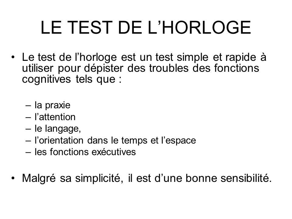 LE TEST DE L'HORLOGE Le test de l'horloge est un test simple et rapide à utiliser pour dépister des troubles des fonctions cognitives tels que :