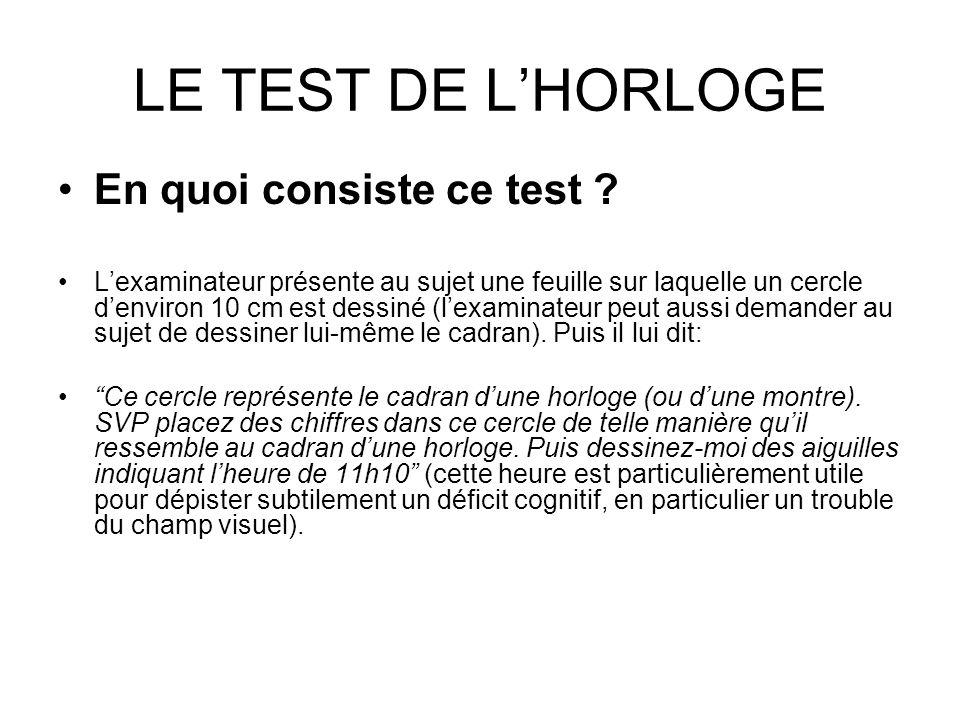 LE TEST DE L'HORLOGE En quoi consiste ce test