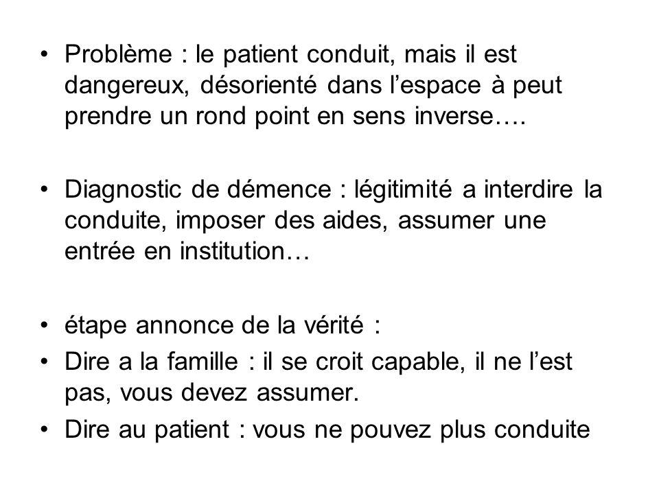 Problème : le patient conduit, mais il est dangereux, désorienté dans l'espace à peut prendre un rond point en sens inverse….