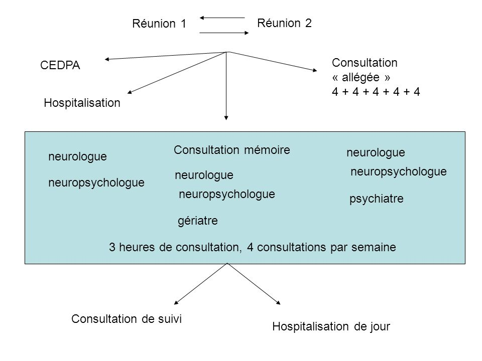 Réunion 1 Réunion 2. CEDPA. Consultation. « allégée » 4 + 4 + 4 + 4 + 4. Hospitalisation. Consultation mémoire.