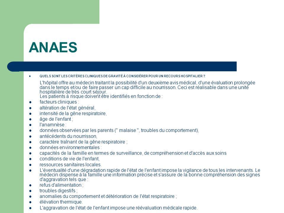 ANAES facteurs cliniques : altération de l état général,