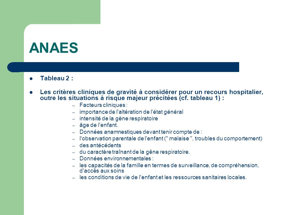ANAES Tableau 2 :