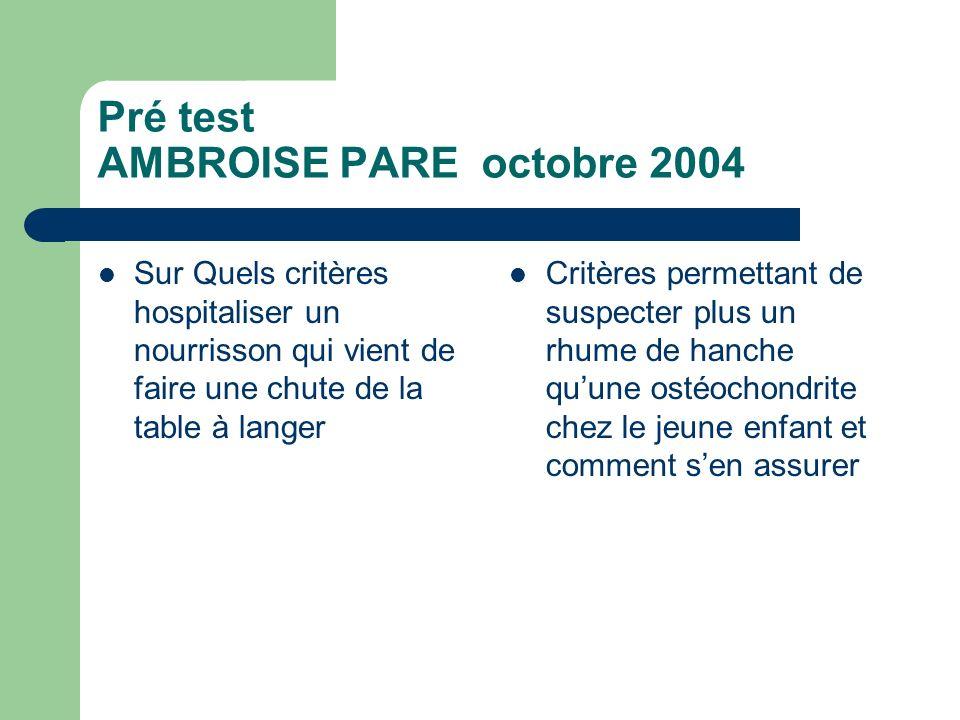 Pré test AMBROISE PARE octobre 2004