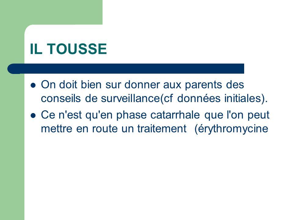 IL TOUSSE On doit bien sur donner aux parents des conseils de surveillance(cf données initiales).