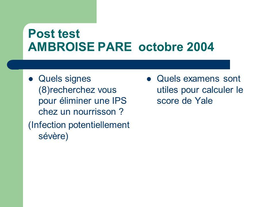 Post test AMBROISE PARE octobre 2004