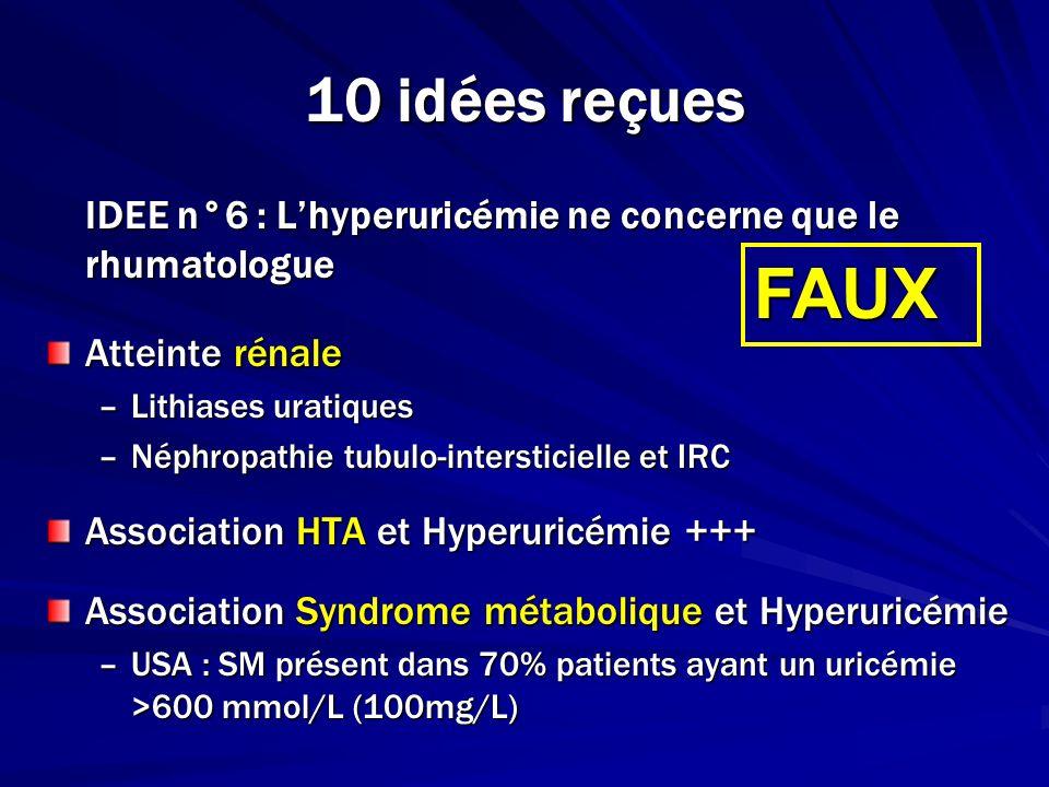 10 idées reçuesIDEE n°6 : L'hyperuricémie ne concerne que le rhumatologue. Atteinte rénale. Lithiases uratiques.