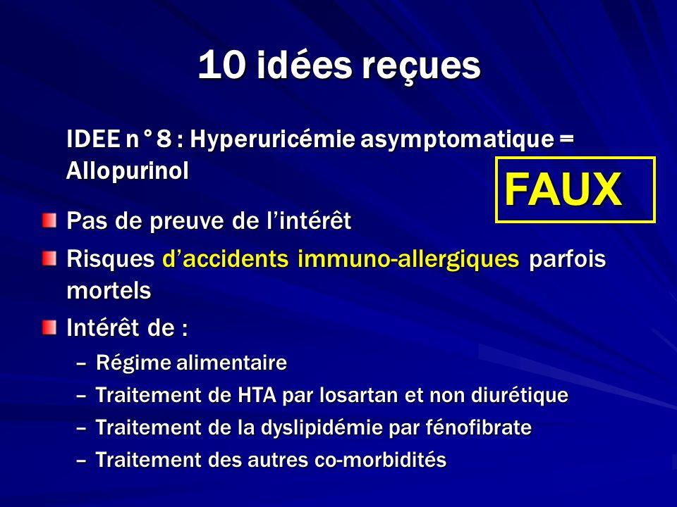 10 idées reçuesIDEE n°8 : Hyperuricémie asymptomatique = Allopurinol. Pas de preuve de l'intérêt.