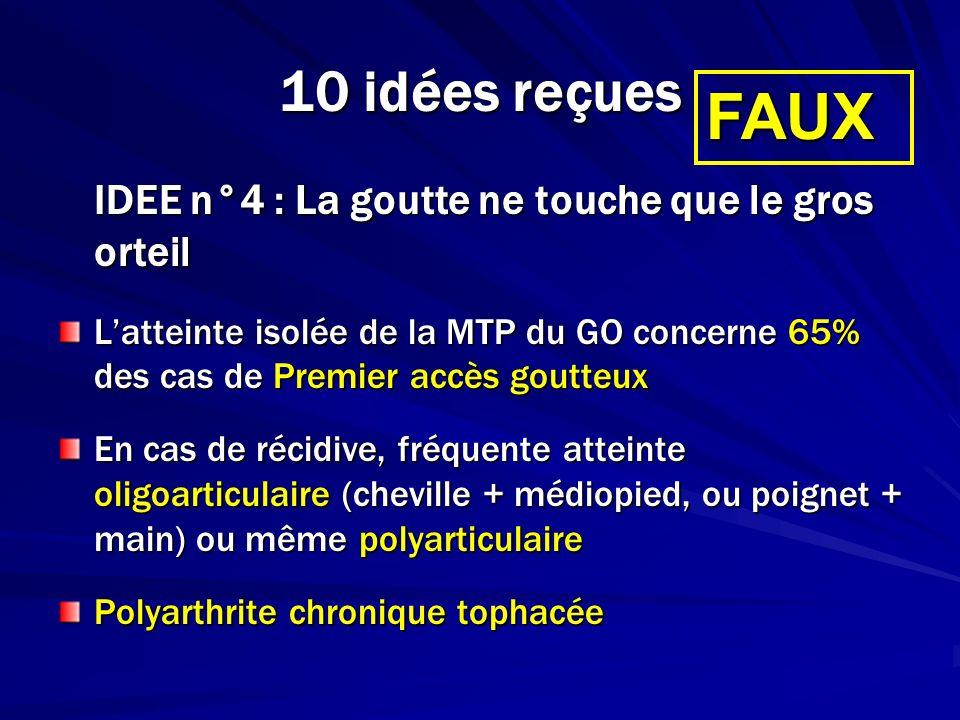 FAUX 10 idées reçues IDEE n°4 : La goutte ne touche que le gros orteil