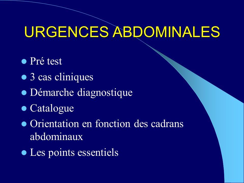 URGENCES ABDOMINALES Pré test 3 cas cliniques Démarche diagnostique