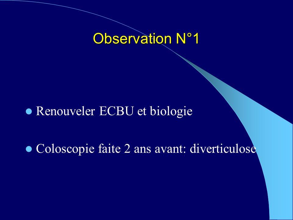Observation N°1 Renouveler ECBU et biologie