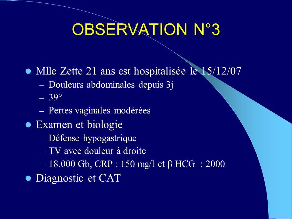 OBSERVATION N°3 Mlle Zette 21 ans est hospitalisée le 15/12/07