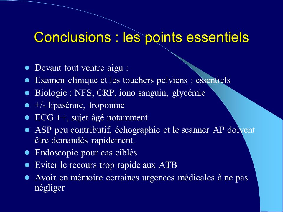 Conclusions : les points essentiels