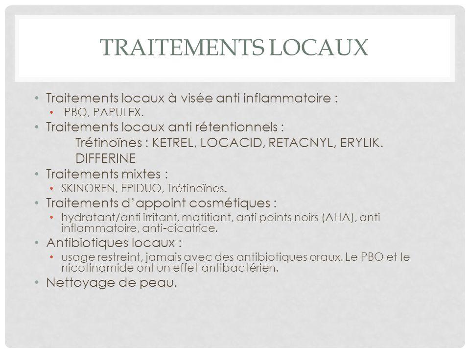 TRAITEMENTS LOCAUX Traitements locaux à visée anti inflammatoire :