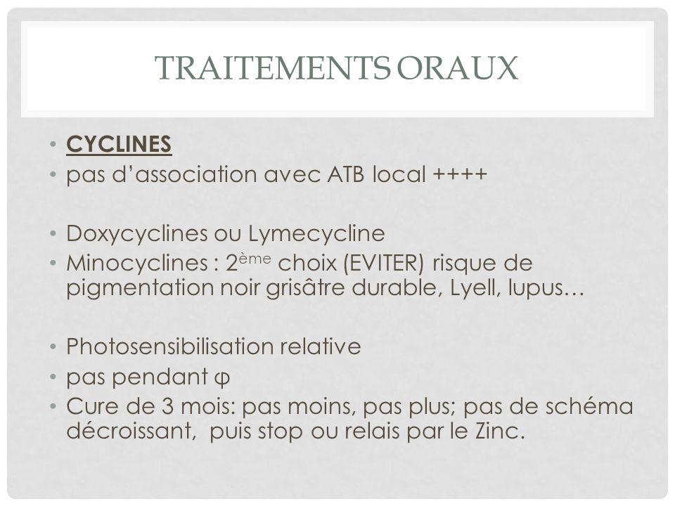 TRAITEMENTS ORAUX CYCLINES pas d'association avec ATB local ++++