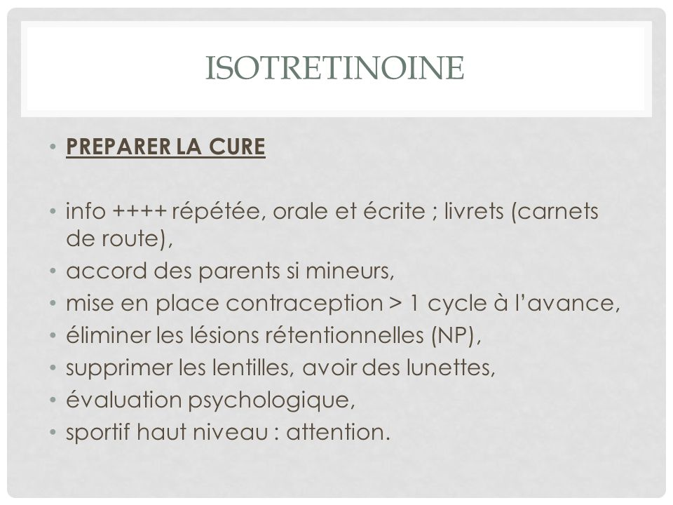 ISOTRETINOINE PREPARER LA CURE