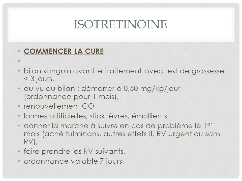 ISOTRETINOINE COMMENCER LA CURE