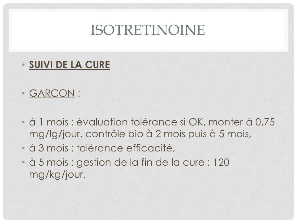 ISOTRETINOINE SUIVI DE LA CURE GARCON :
