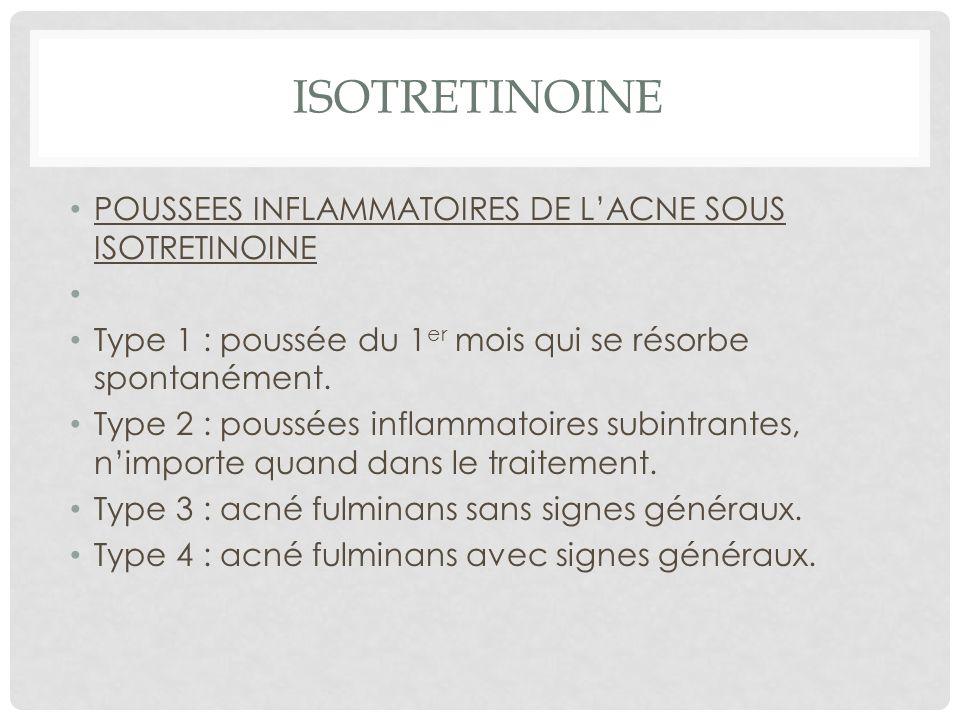 ISOTRETINOINE POUSSEES INFLAMMATOIRES DE L'ACNE SOUS ISOTRETINOINE