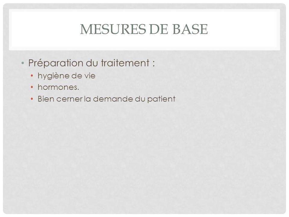 MESURES DE BASE Préparation du traitement : hygiène de vie hormones.