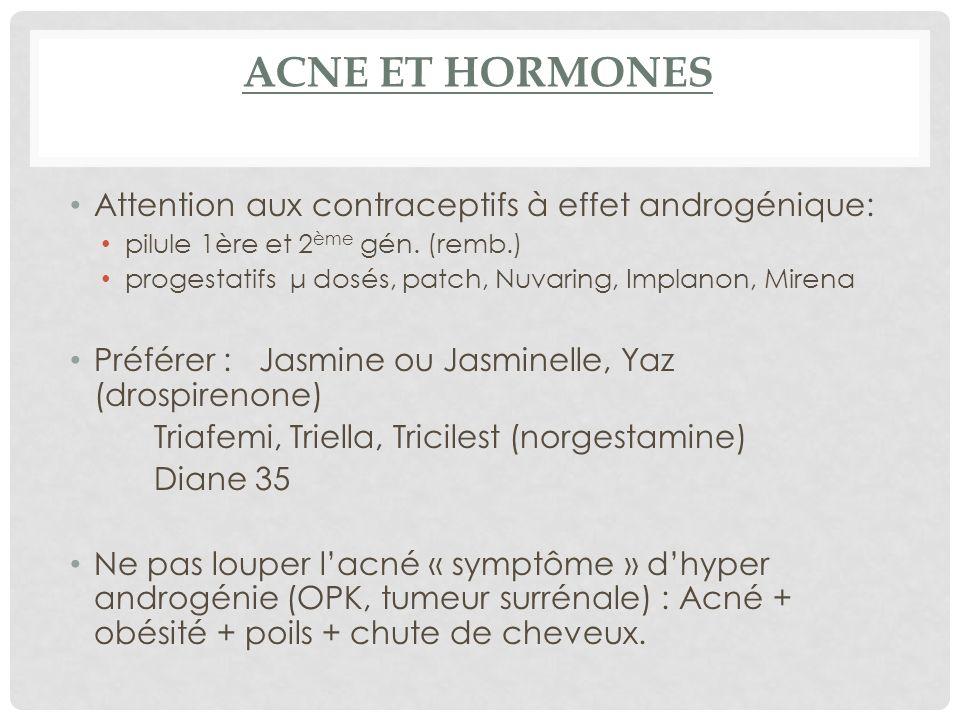 ACNE ET HORMONES Attention aux contraceptifs à effet androgénique: