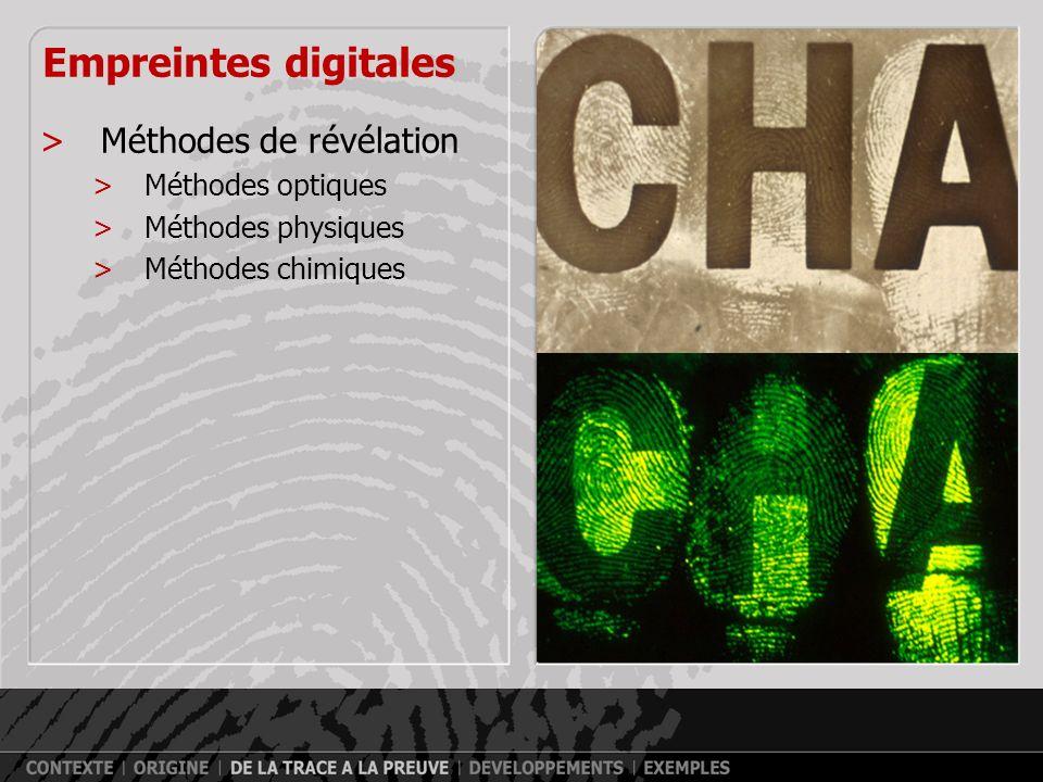 Empreintes digitales Méthodes de révélation Méthodes optiques