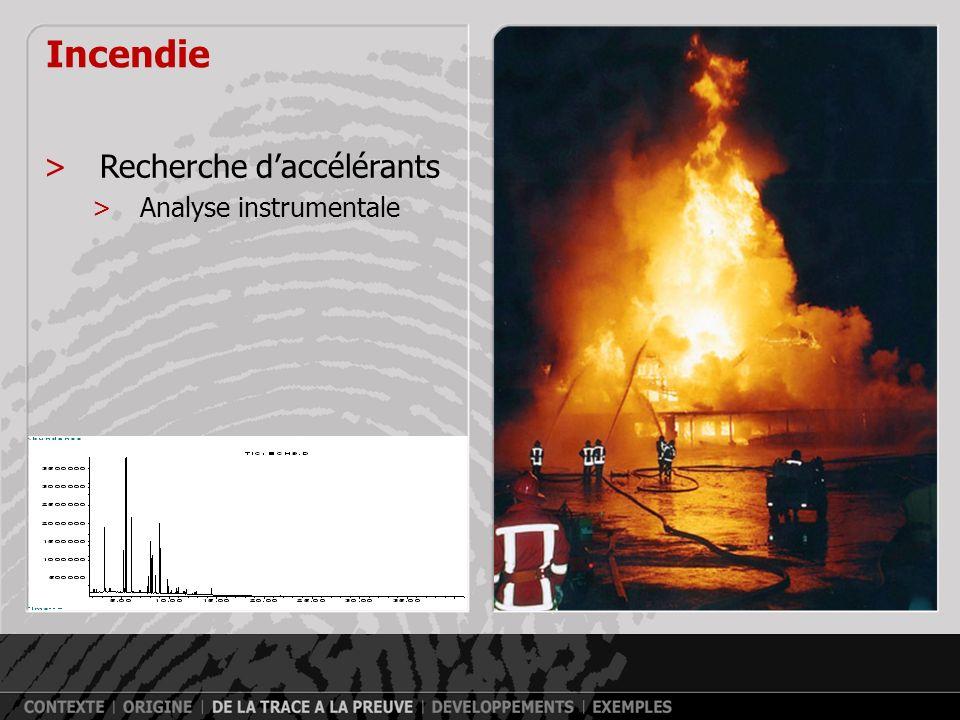 Incendie Recherche d'accélérants Analyse instrumentale