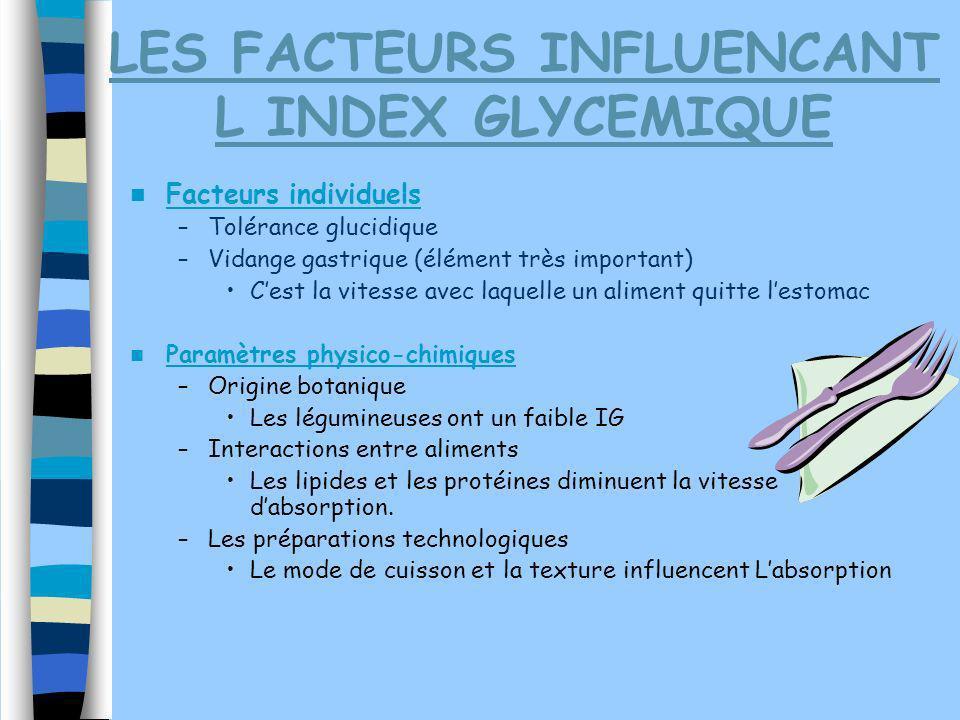 LES FACTEURS INFLUENCANT L INDEX GLYCEMIQUE