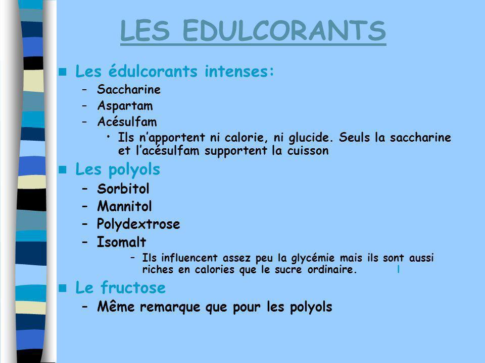 LES EDULCORANTS Les édulcorants intenses: Les polyols Le fructose