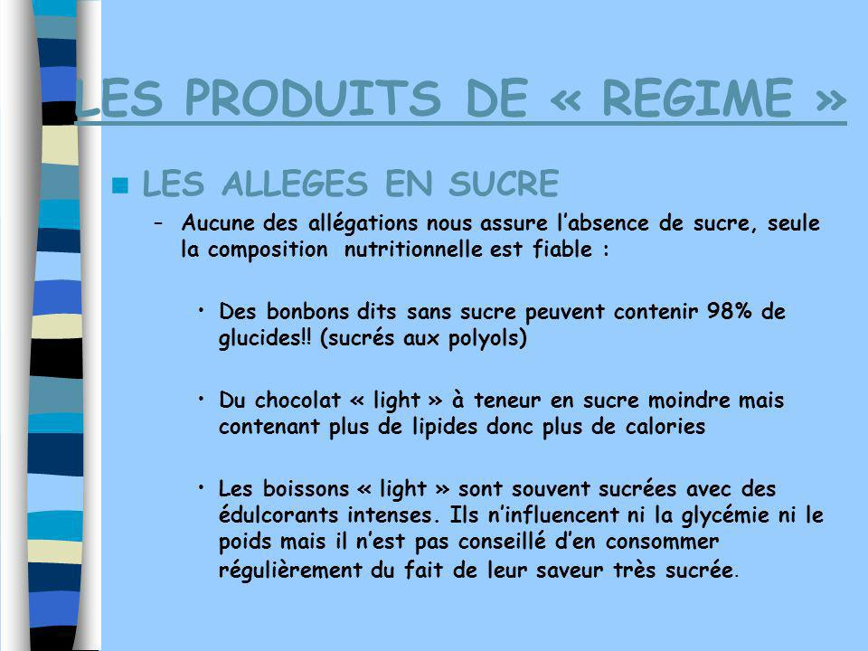LES PRODUITS DE « REGIME »