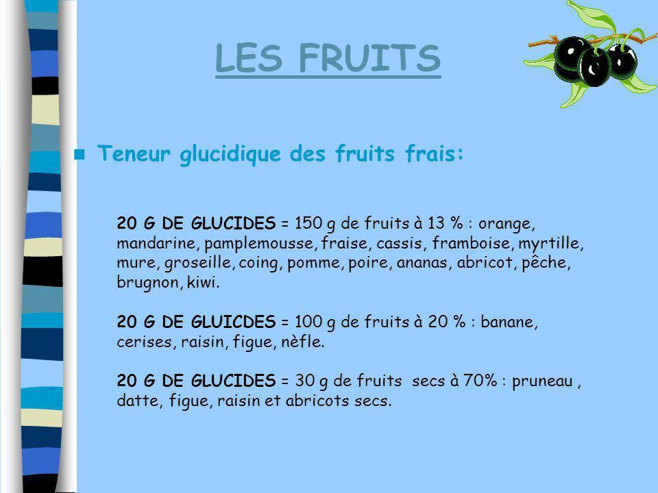 LES FRUITS Teneur glucidique des fruits frais: