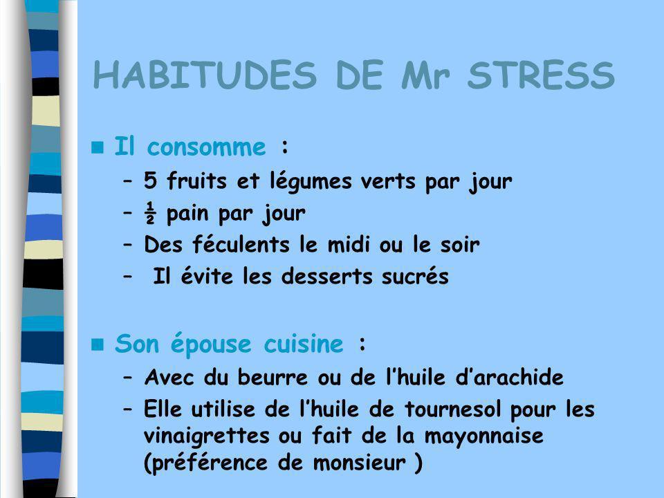HABITUDES DE Mr STRESS Il consomme : Son épouse cuisine :