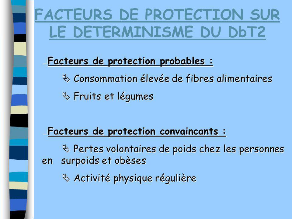 FACTEURS DE PROTECTION SUR LE DETERMINISME DU DbT2
