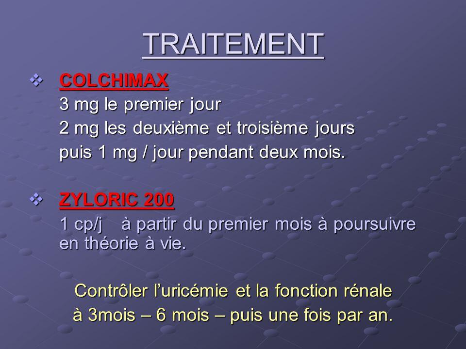 TRAITEMENT COLCHIMAX 3 mg le premier jour