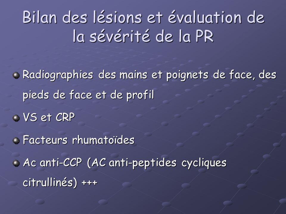 Bilan des lésions et évaluation de la sévérité de la PR